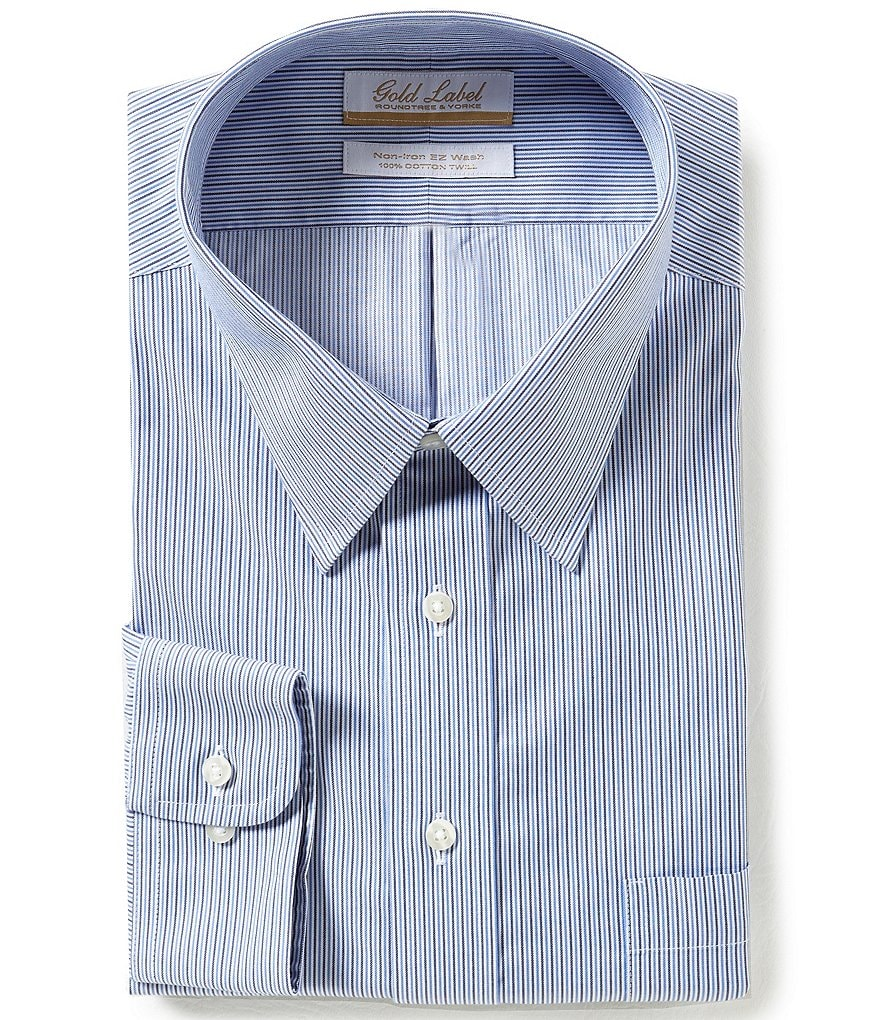 Gold Label Roundtree & Yorke Big & Tall Non-Iron Regular Full-Fit Point-Collar Striped Dress Shirt
