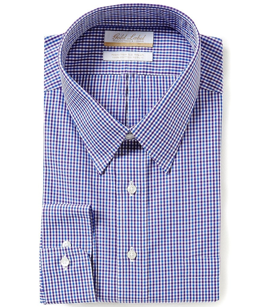 Gold Label Roundtree & Yorke Big & Tall Non-Iron Regular Full-Fit Point-Collar Grid Check Dress Shirt