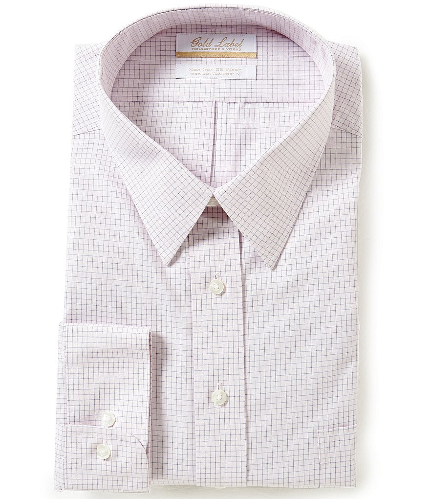 Gold Label Roundtree & Yorke Big & Tall Non-Iron Regular Full-Fit Point-Collar Checked Dress Shirt