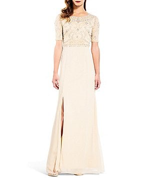 Adrianna Papell 3/4 Sleeve Beaded Bodice Front Slit Gown