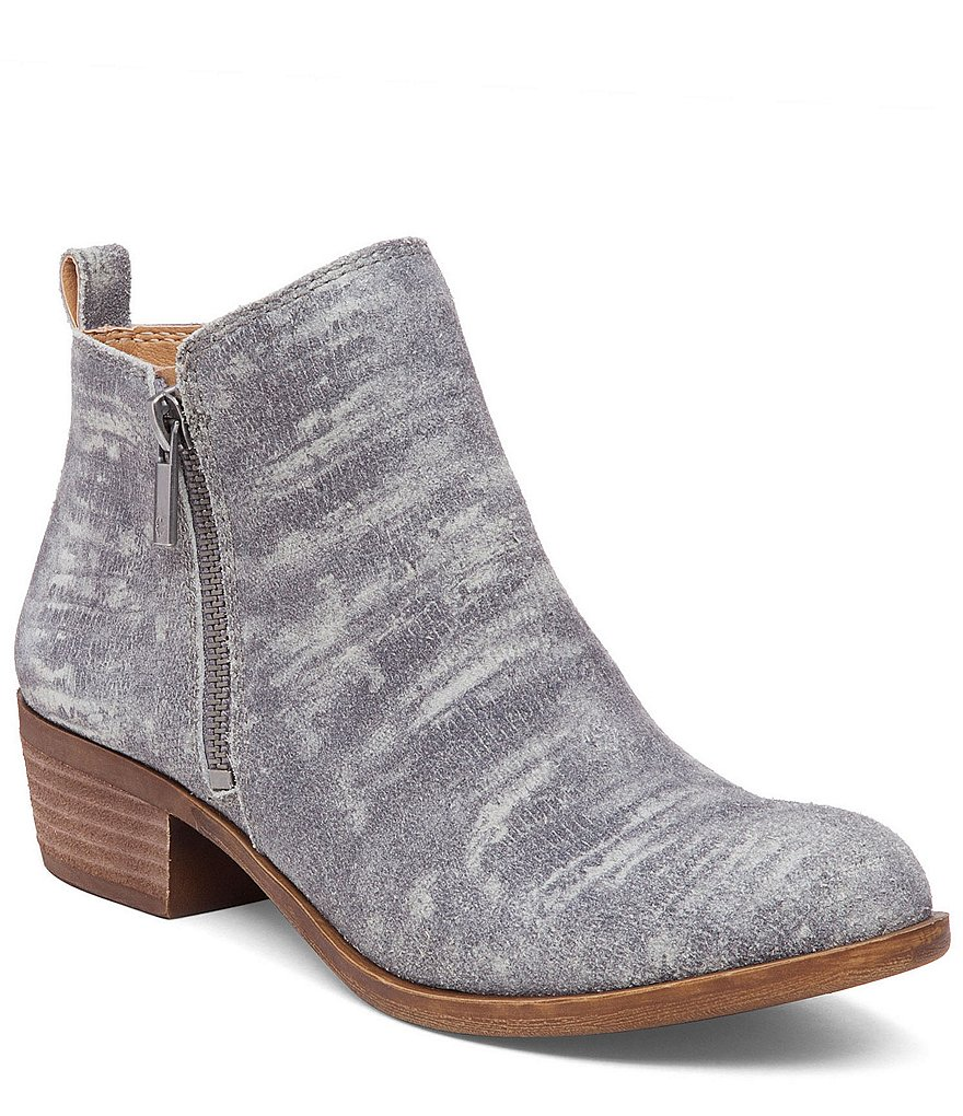 Lucky Brand Basel Side Zip Patterned Leather Booties