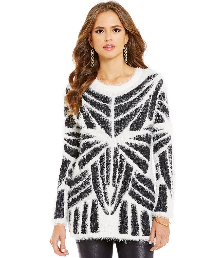 Gianni Bini Eva Eyelash Long Sleeve Tribal Sweater