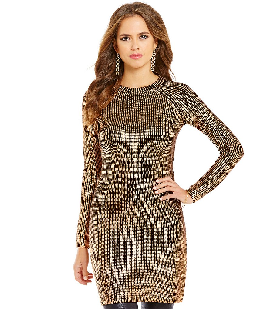 Gianni Bini Cora Long Sleeve Foil Rib Knit Tunic Sweater