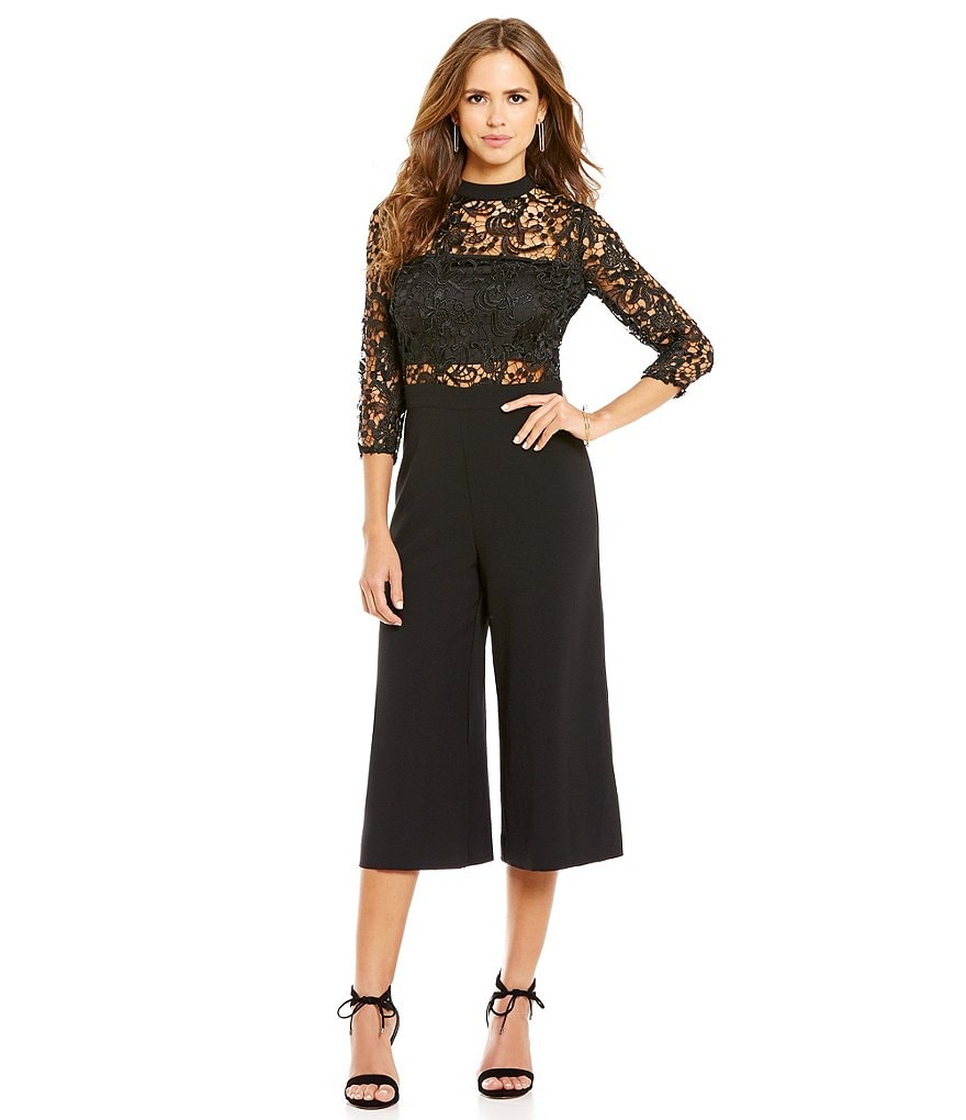 Gianni Bini Katherine Lace Long Sleeve Mock Neck Jumpsuit