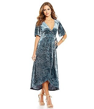 Gianni Bini Fan Fav Marche Velvet Wrap Short Sleeve Dress