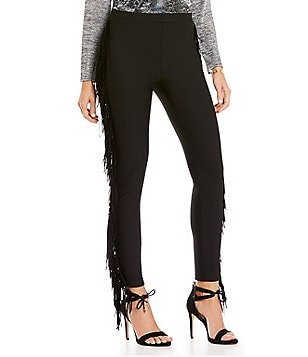 Gianni Bini Lexi Pull-On Solid Fringe Leggings