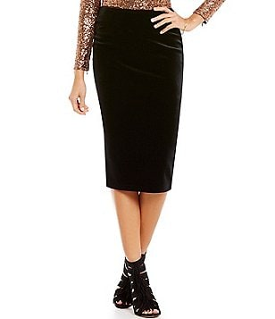 Gianni Bini Raven Velvet Midi Pencil Skirt