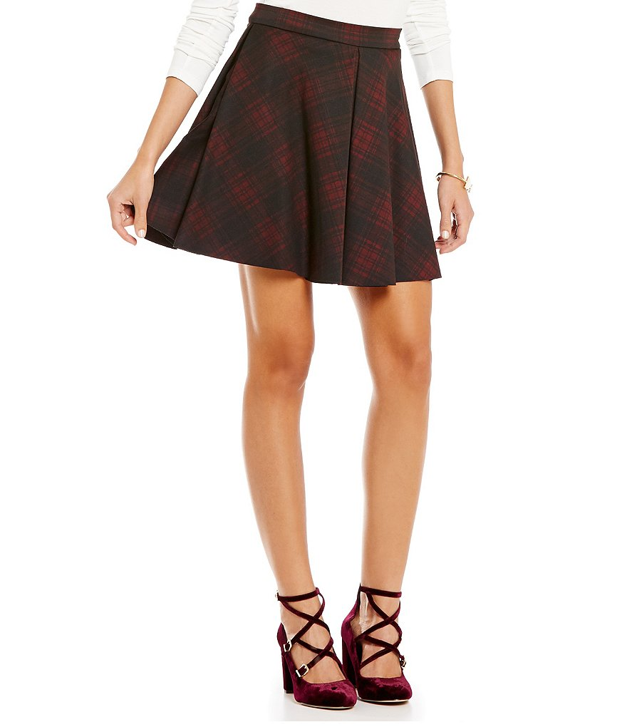 Gianni Bini Sandy Plaid Knit Fit-And-Flare Mini Skirt