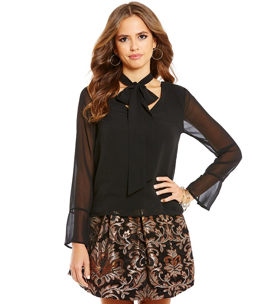 Gianni Bini Shelby Tie-Neck Long Sleeve Solid Blouse