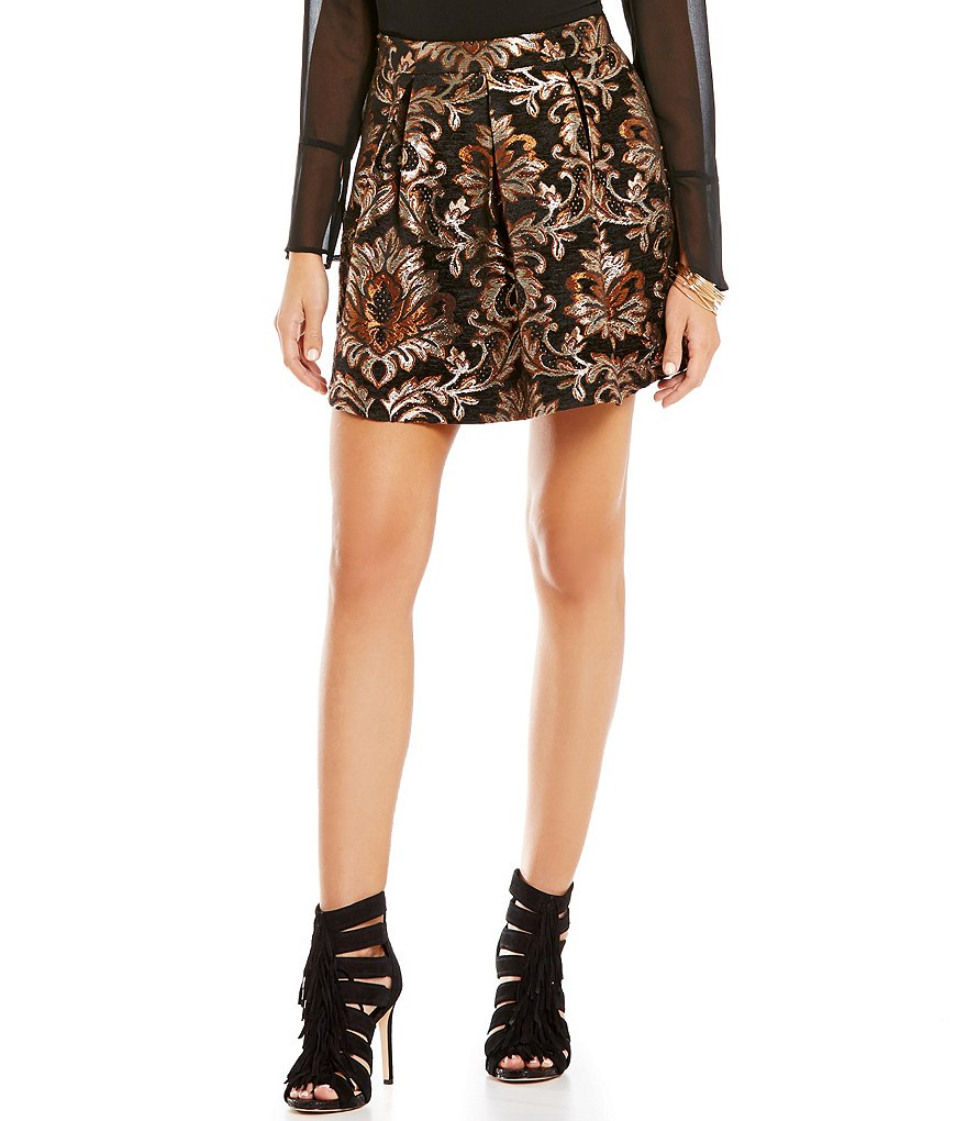 Gianni Bini Lordice Printed Jaquard Mini A-Line Skirt