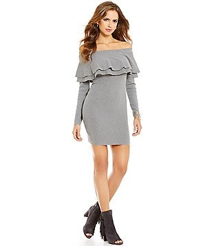 Gianni Bini Cole Off-The-Shoulder Ruffled Sweater Dress