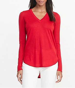 Lauren Ralph Lauren Petites V-Neck Curved Hem Solid Sweater