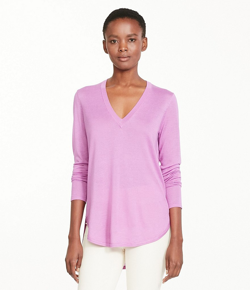 Lauren Ralph Lauren Silk-Blend V-Neck Shirttail Hem Sweater