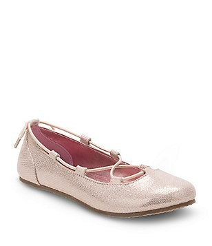 Stride Rite Girl´s Julia Metallic Ghillie Bungee Lace Slip On Dress Flats