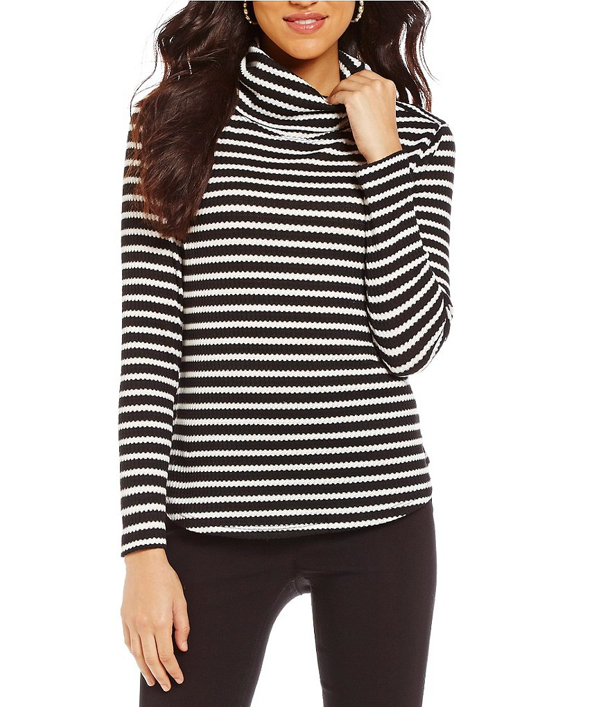Westbound Textured Long Sleeve Cowl Neck Striped Top