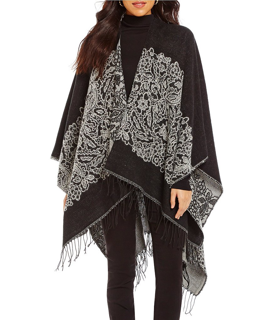 Westbound Sleeveless Open Front Printed Fringe Wrap