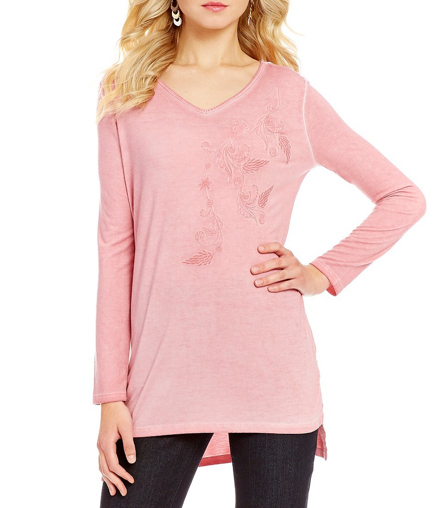 Westbound V-Neck Long Sleeve Embroidered Hi-Lo Top