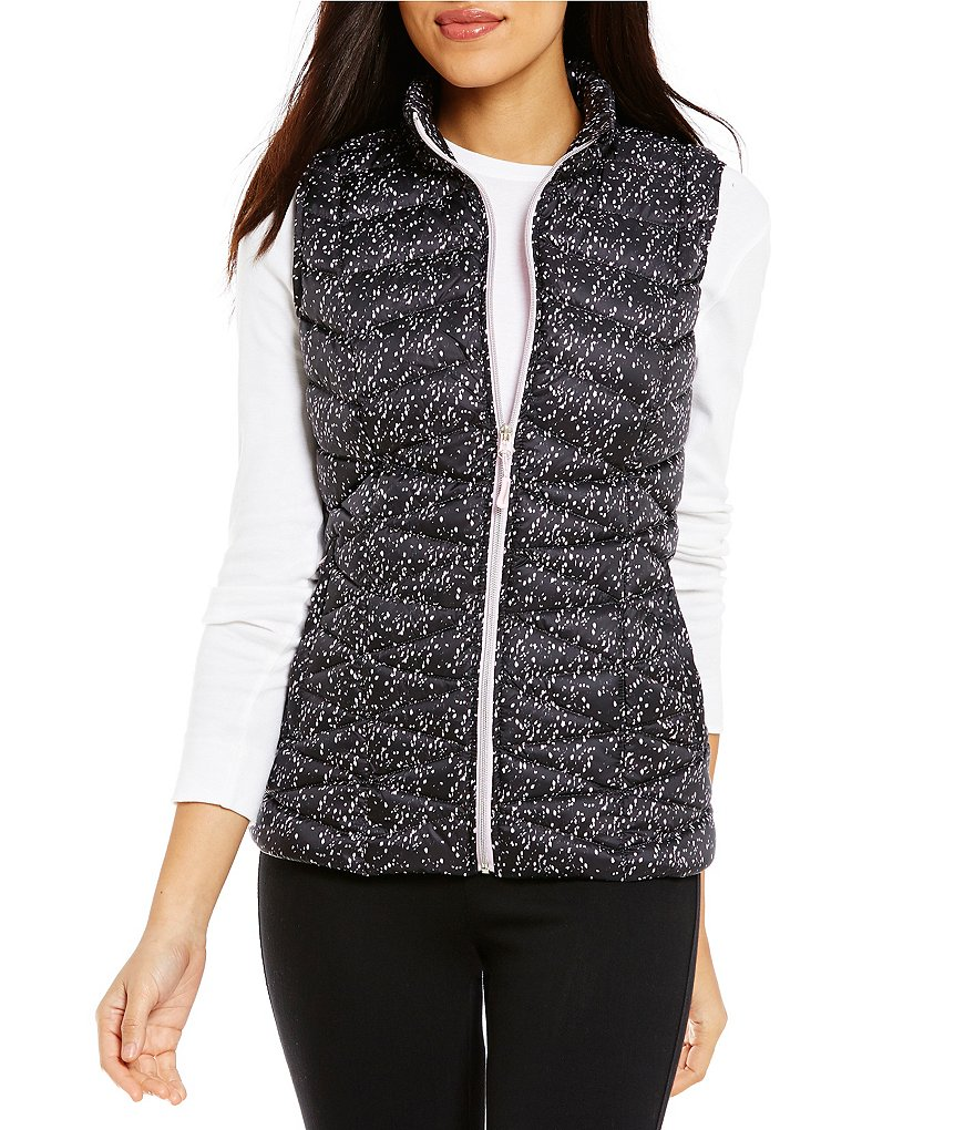 Westbound Packable Mock Neck Front Zip Printed Puffer Vest