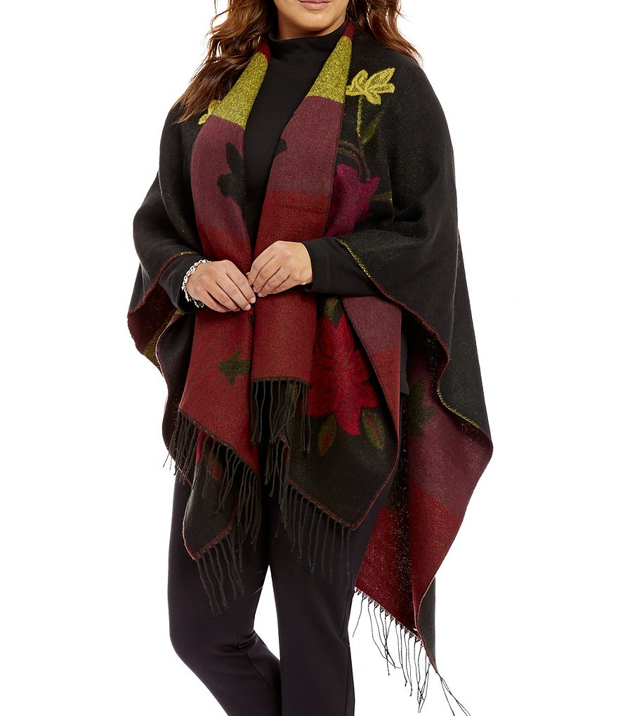 Westbound Plus Fringe Embroidered Wrap