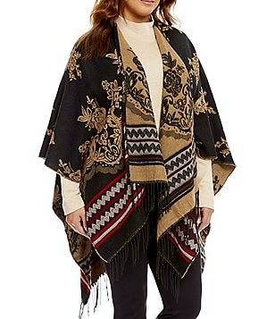 Westbound Plus Embroidered Fringe Wrap