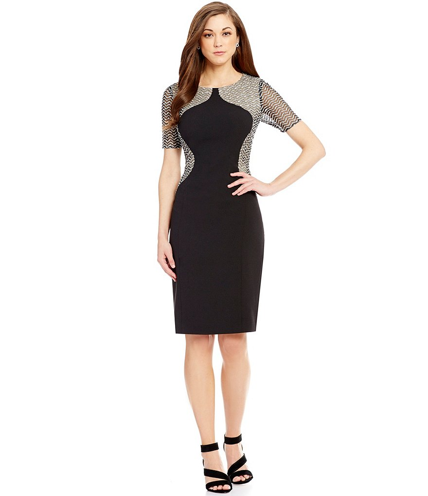Antonio Melani Margaret Crepe/Sequin Mesh Sheath Dress