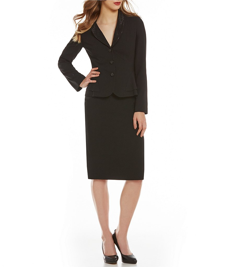 John Meyer 2-Piece Beaded Crepe Skirt Suit