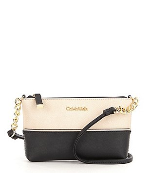 Calvin Klein Saffiano Cross-Body Bag with Chain