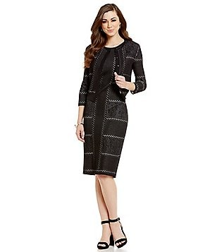 Antonio Melani Waldorf Novelty Jacquard Cardigan & Wilhemina Novelty Jacquard Dress