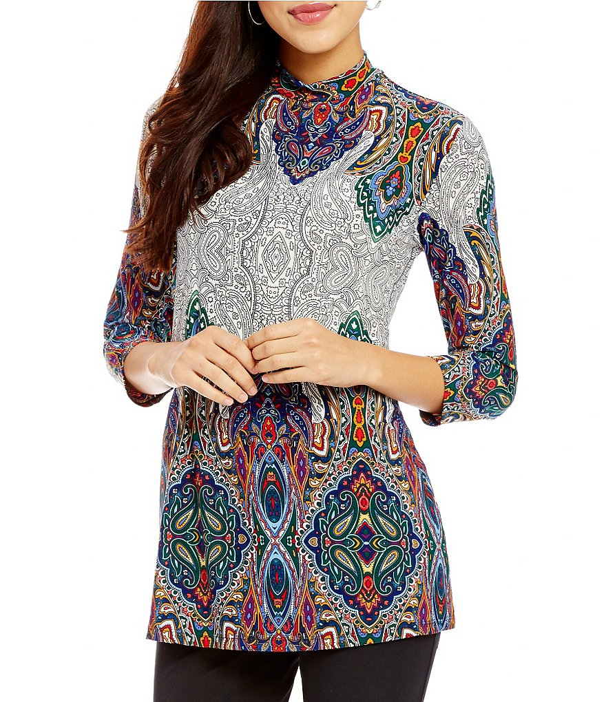 Investments Mock Neck 3/4 Sleeve Printed Top