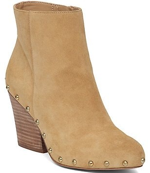 BCBGeneration Jonnie Stud Detail Side Zip Closure Block Heel Booties