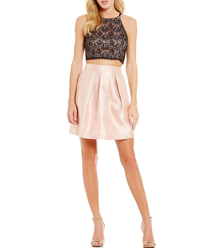 I.N. San Francisco Sequin Lace Top Two-Piece Fit-and-Flare Dress