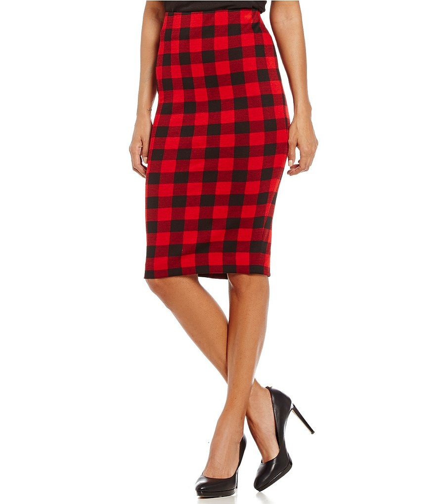 Cremieux Court Plaid Ponte Pencil Skirt