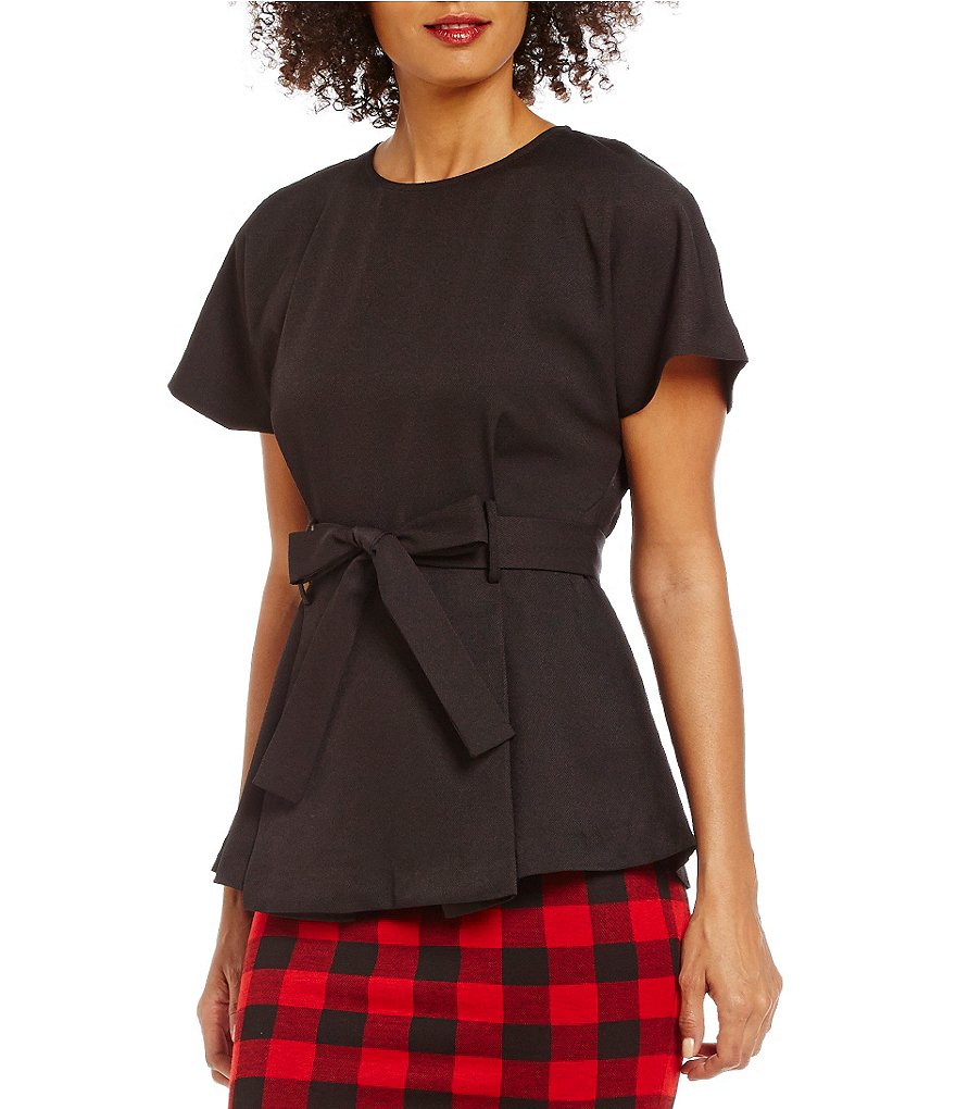 Cremieux Bella Peplum Belted Blouse