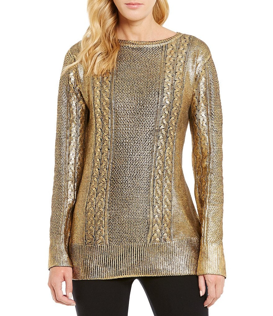 Cremieux Dex Crew Neck Metallic Knit Sweater