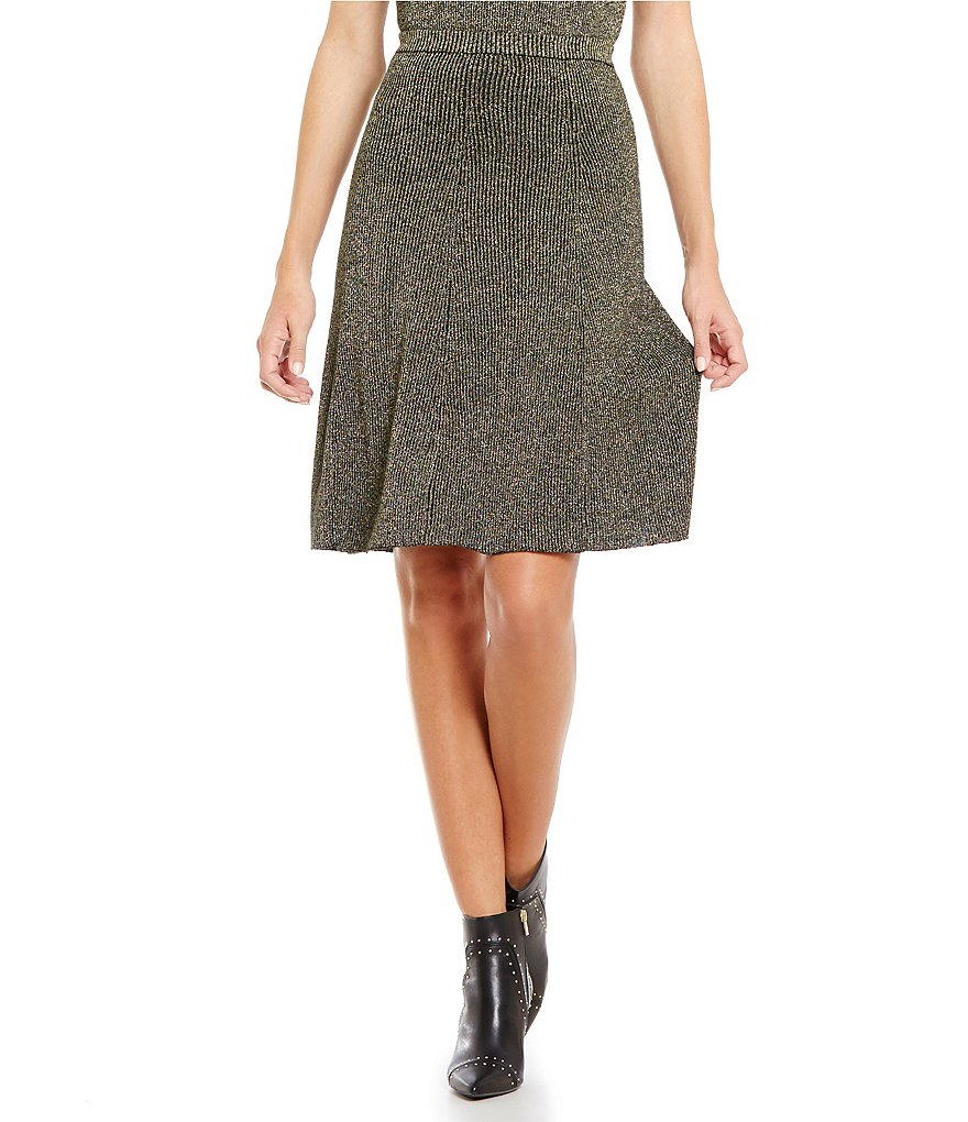 Cremieux Jet Knit Metallic Fit-and-Flare Skirt