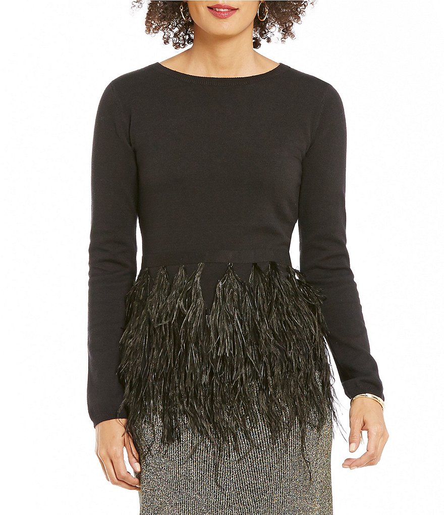 Cremieux Mae Crew Neck Long Sleeve Feather Sweater