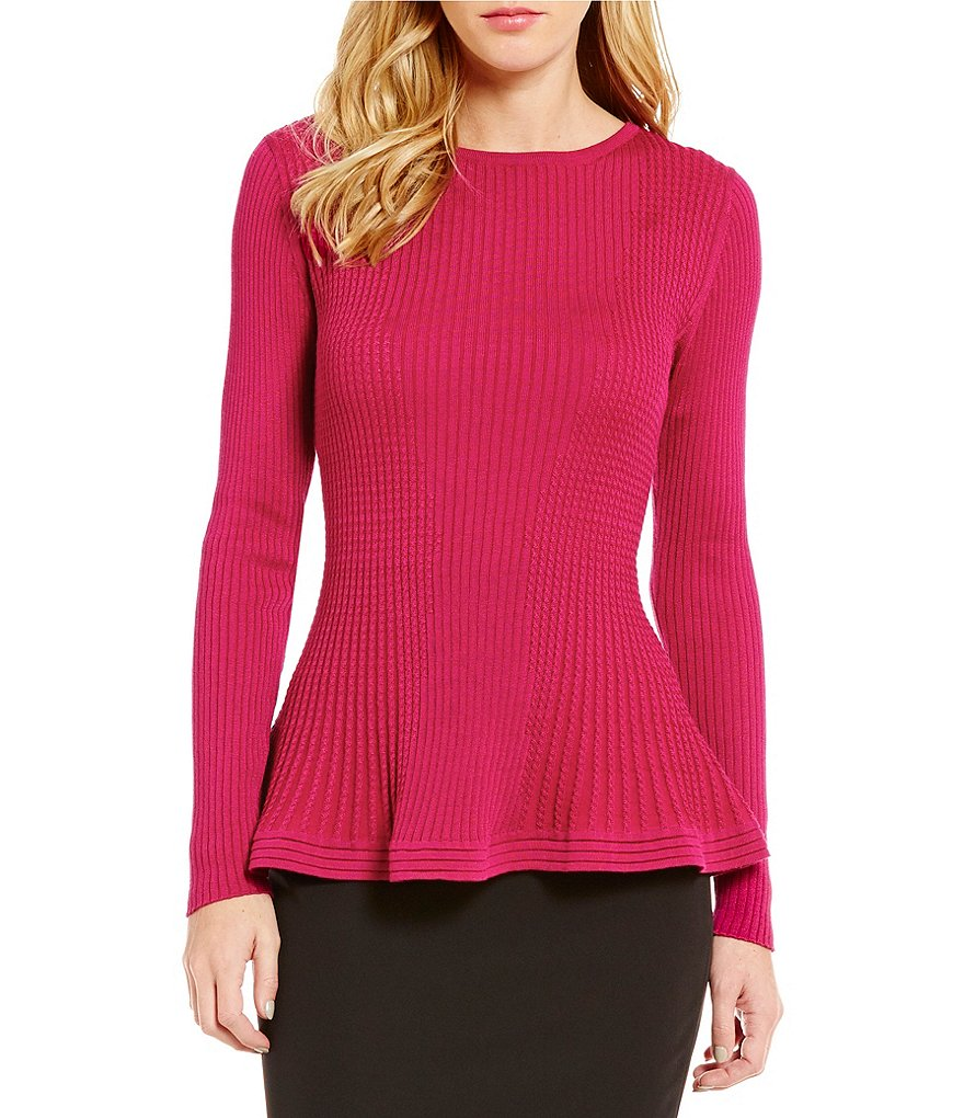 Antonio Melani Alex Crew Neck Long Sleeve Peplum Knit Top