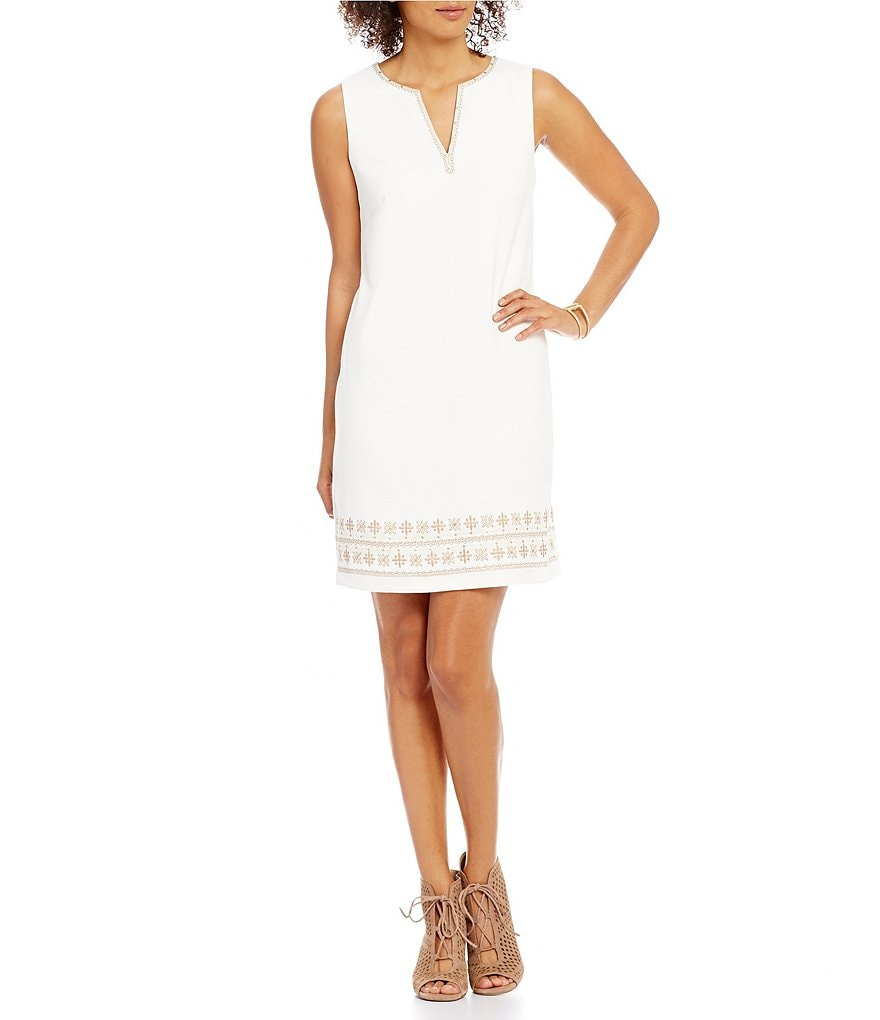 Sigrid Olsen Signature Embroidered Sleeveless Sheath Dress