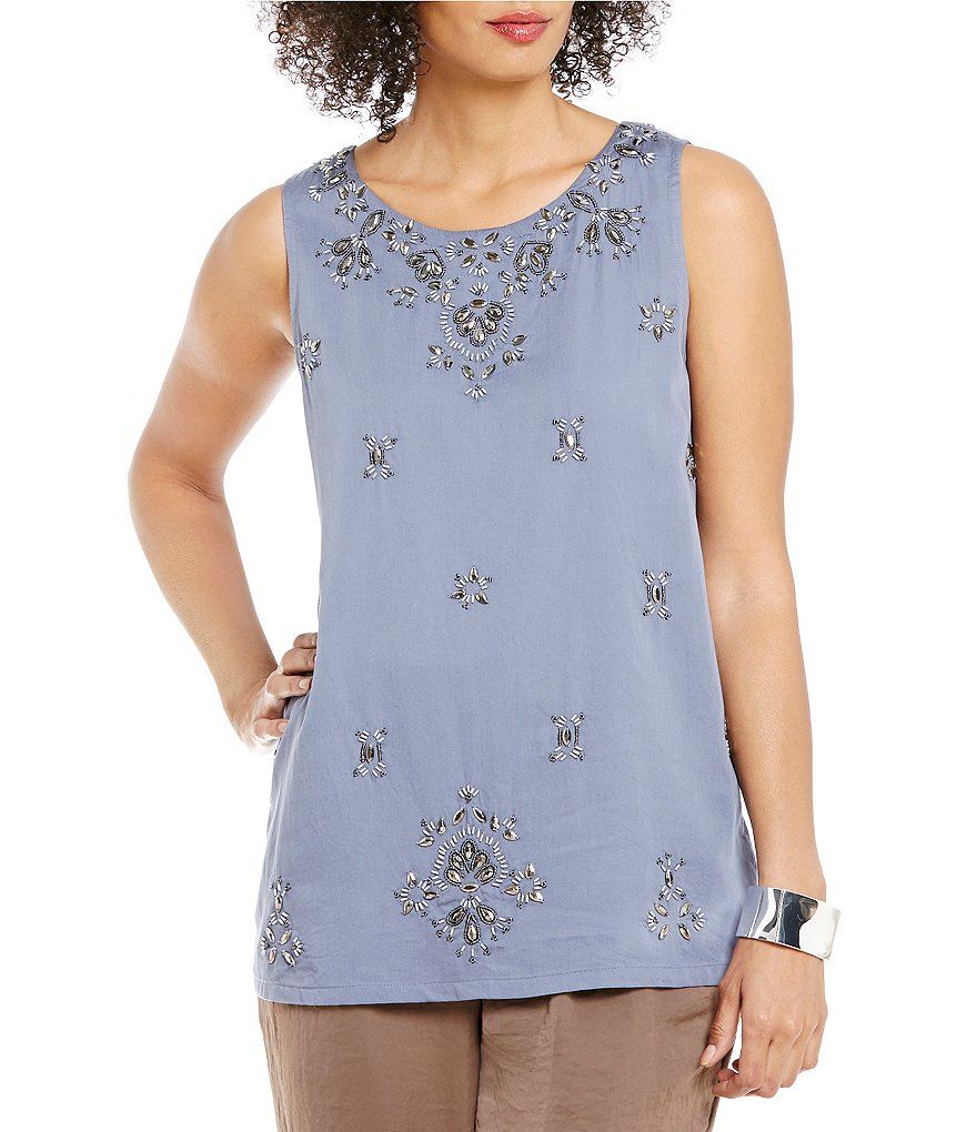 Sigrid Olsen Signature Embellished Beaded Satin Tank