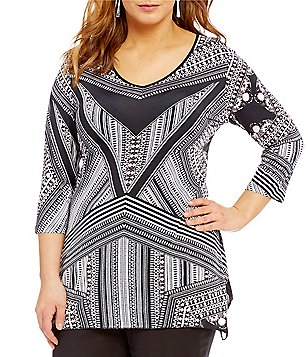 Peter Nygard Plus Printed Sharkbite Tunic
