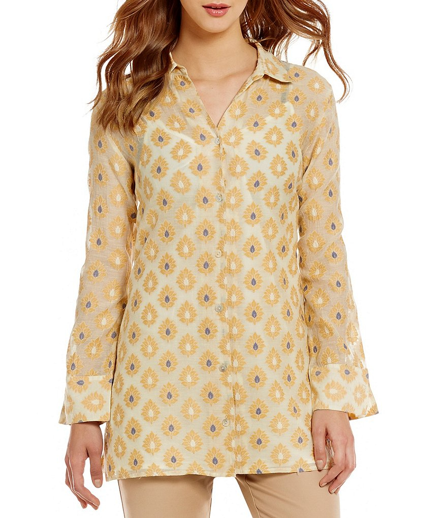 Sigrid Olsen Signature Button-Down Collar Printed Woven Shirt Jacket