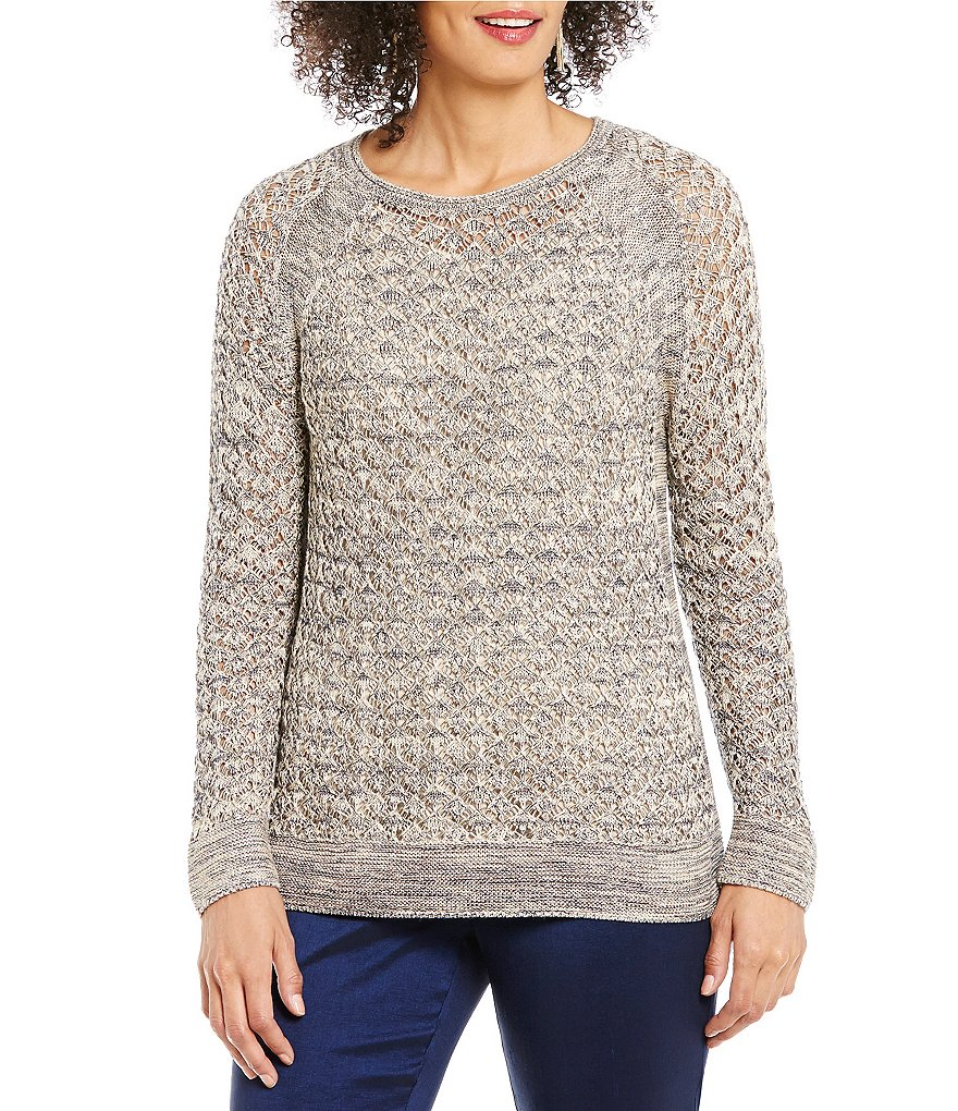 Sigrid Olsen Signature Crew Neck Long Sleeve Marled Sweater