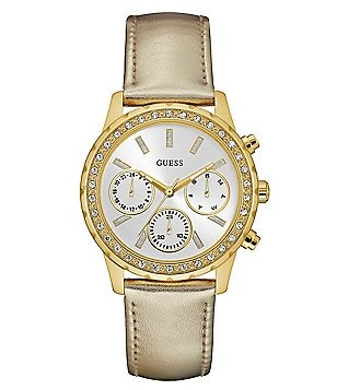 Guess Multifunction Metallic Leather-Strap Watch