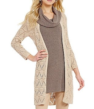 Sigrid Olsen Signature Open Front Long Solid Pointelle Cardigan