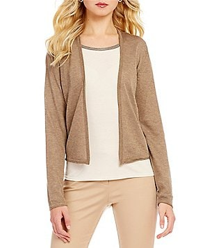 Sigrid Olsen Signature Open Front Long Sleeve Short Metallic Cardigan