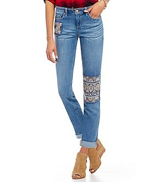 Code Bleu Gracie Slim Boyfriend Jeans with Aztec Patch and Embroidery