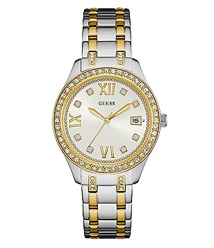 Guess Crystal Two-Tone Analog & Date Bracelet Watch