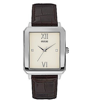 Guess Leather-Strap Dress Watch
