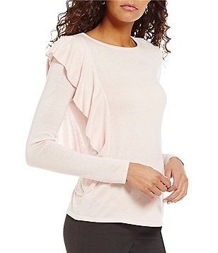 Antonio Melani Dylan Long Sleeve Ruffle Knit Top