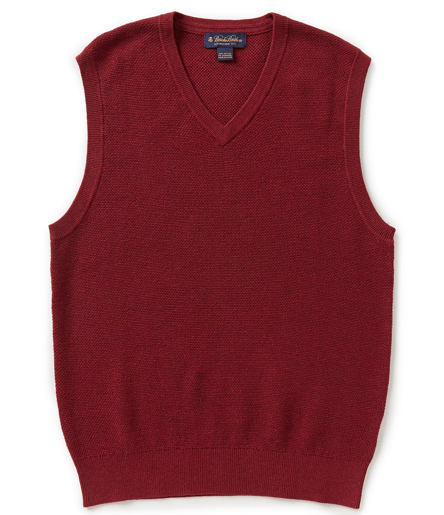 Brooks Brothers Cotton Cashmere Textured Sweater Vest